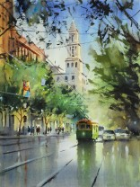 (watercolour) Collins Street Reflections